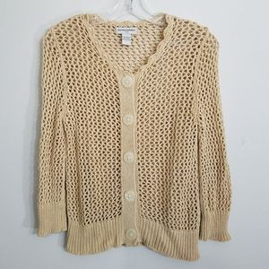 Women's Tan Open Knit Button Down Cardigan Sweater